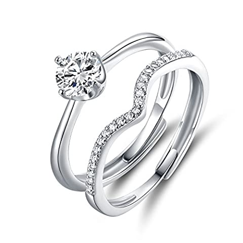 JiangXin 925 Sterling Silver Propose Ring Sets Adjustable Size Engagement Wedding Solitare Simulated Diamond Forever Ring Open Two Finger Wishbone Dress Eternal Couple