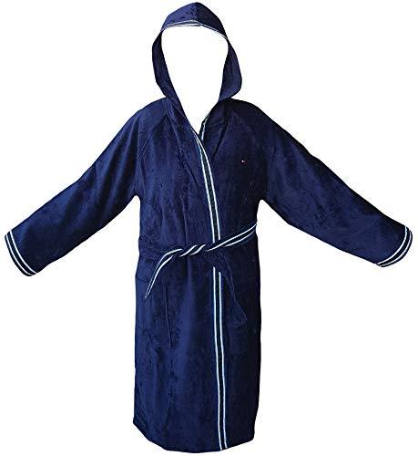 Tommy hilfiger accappatoio kimono con cappuccio tg s m l xl xxl 100% spugna puro cotone uomo donna (blu navy, xl - 52/54)