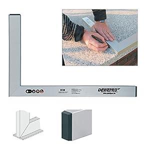 DEWEPRO® Aluminium Bauwinkel 90° mit Anschlagsleiste - Winkel - Maurerwinkel - Anschlagwinkel - Profilwinkel - Aluwinkel - 60x40cm