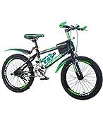 SJSF Y Bici per Bambini Ragazzi E Ragazze 8-9-10-14 Anni Freni A Disco da 22 Pollici per Bambini Mountain Bike,Blackgreen
