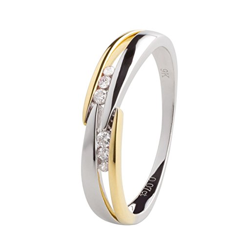 Ardeo Aurum Damenring aus 375 Gold bicolor Gelbgold Weißgold mit 0,07 ct Diamant Brillant Verlobungsring
