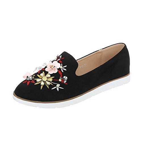 Scarpe da donna Mocassini piatto Slipper Ital-Design Nero