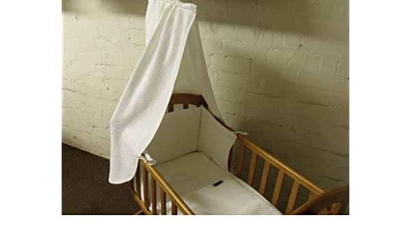 blue Broderie Anglais 3piece Swinging Crib Bedding Set