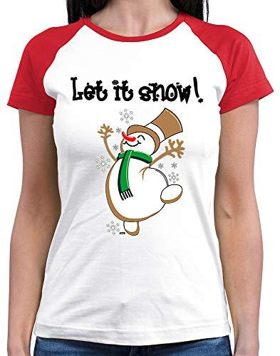 HARIZ  Damen Baseball Shirt Let It Snow Weihnachten Xmas Geschenke Liebe Plus Geschenkkarten White/Red M (Snow White T Shirt Kostüm)