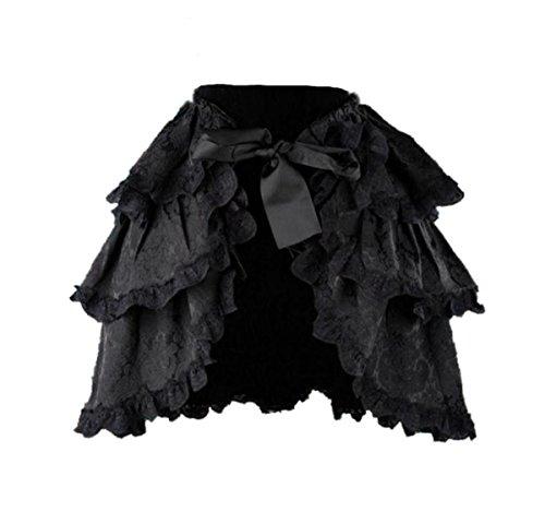 Dark Dreams Gothic Steampunk Burlesque Neo Victorian Überrock Rock Bustle schwarz 38 40 42 Skirt Madison, (Bustle Skirt Kostüm)