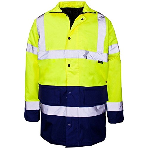 Price comparison product image Expert Workwear HI VIZ Two 2 Tone Parka Jacket Visibility Security Work Waterproof Coat (X-Large,  Yellow & Navy (Two Tone))