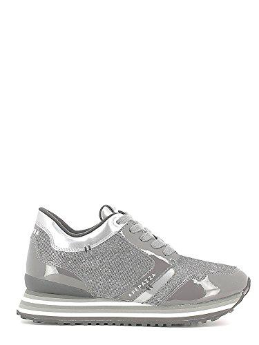 APEPAZZA RIHANNA METAL FABRIC RSD01, sneaker vernice/camoscio, zeppa interna, GRIGIO SILVER (40)