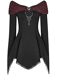 Damen Retro Steampunk Viktorianisch Kurzärmel Schulterfrei Oberteile Hemden