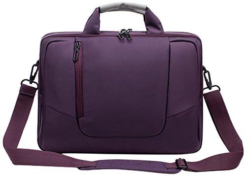 Laptop Umhängetasche aus weichem Nylon mit Schaumstoff gepolsterte Aktentasche, abnehmbarer Schultergurt - für 15,6-Zoll-Notebooks, Lila - von Rawboe (Nylon-17-notebook-tragetasche)