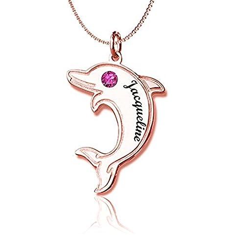 HACOOL 925 Sterling Silber personalisierte Dolphin Anhänger Halskette mit Birthstone