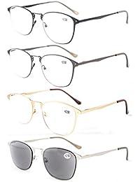 Eyekepper Paquete de 4 Calidad bisagra de resorte retro gafas de lectura incluyen Sol lectores +0.5