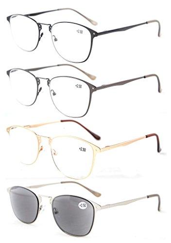 Eyekepper 4-Pack Qualität Spring-Scharnier Retro Reading Gläser enthalten Sun-Leser +2.5 (Lesebrille Männer Sun-leser)