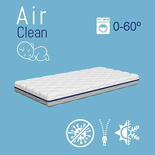 Colchón de Cuna Air Clean | Oxigenación Total | Reversible | Funda lavable hasta a 60º | Transpirable...