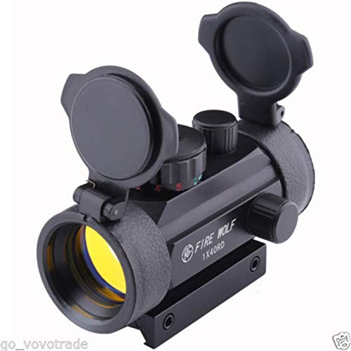 Jullyelegant Fire Wolf Holographic 1X40mm Airsoft Red Green Dot Sight Scope 11 y 20 Montaje en riel - Negro