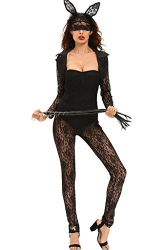 Fortuning's JDS Frauen 4pcs langes (Playboy Halloween Bunny Kostüm)