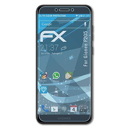 atFolix Schutzfolie kompatibel mit Gionee F205 Folie, ultraklare FX Bildschirmschutzfolie (3X)