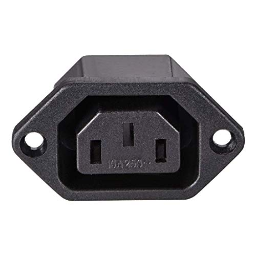 ZCHXD C13 Panel Mount Plug Adapter 250V AC 10A 3 Pins IEC Inlet Module Plug Power Connector Socket Straight -