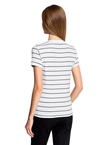 oodji Ultra Damen Gestreiftes T-Shirt mit Applikation Weiß (1079S) ...
