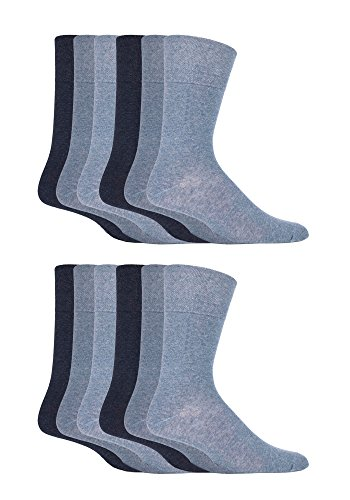 12 Pairs men's gentle grip no elastic socks 6-11 uk, 39-45 eur, Plain Colours