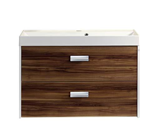 FACKELMANN Badmöbel Set LAS Vegas 2 Teile/Gussmarmorbecken und Waschtischunterschrank/Maße (B x H x T): ca. 100 x 59 x 45,5 cm / 2 Schubladen/Set fürs Bad/Korpus: Weiß/Front: Braun dunkel