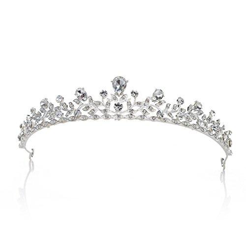 SWEETV Retro Stil Kostümzubehör Kristalle Krone Braut Tiara Strass Haar-Zubehör Festzug Prom Hochzeit Diadem, Silber