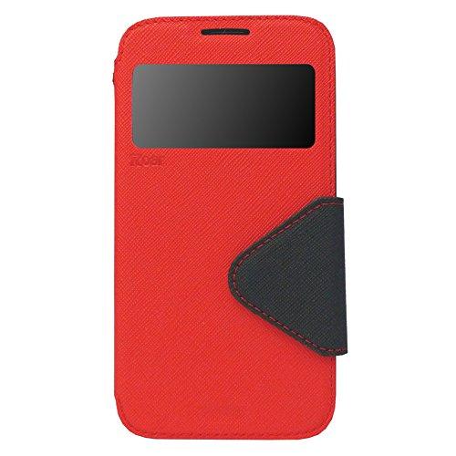 iPhone 6 6s Plus Hülle Flip Case Tasche inkl. Silikon innen View Fenster Magnetverschluß Easy Touch Kartenfach Farbauswahl Orange Rot