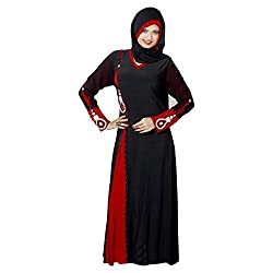 Aagaman Beautiful Black Colored Stone Worked Lycra Readymade Burka