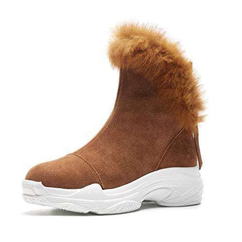 YAN Damenmode Schuhe Plateauschuhe Hohe Freizeitschuhe Plus Samt Dicke Warme Stiefel Bow Muffin Bottom Booties (Farbe : EIN, Größe : 36)