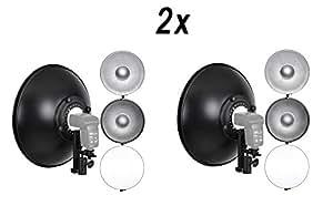 2 Bols Beauté 42cm (16'') Complets avec Fixations + Grilles Nid d'Abeille + Diffuseurs, pour Flash Nikon Speedlight SB-910 SB-900 SB-800 SB-700 SB-500 SB-28 SB-24 SB-20 SB-16