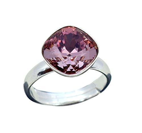 Crystals & stones anello in argento 925 *rhombus square* * molti colori * swarovski elements – argento sterling 925, anello da donna, misura regolabile e argento, colore: antique pink, cod. 7