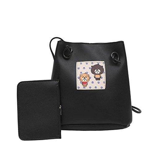 2pc VENMO Mädchen Frauen drucken weibliche einfache Tasche Crossbody Schultertasche + Geldbörse (B) (Tasche Schulter Drucken Leder)