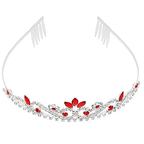 Diadema Tiara con Rojo Cristal Diamante de Imitación Tocado para Novia Boda