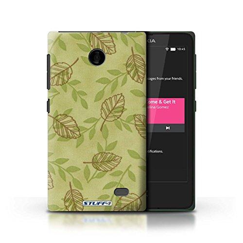Kobalt® Imprimé Etui / Coque pour Nokia X / Rose/Bleu conception / Série Motif Feuille/Branche Vert/Brown