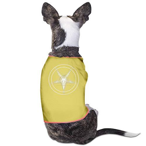 Satan Kostüm Baby - Jiaojiaozhe Satan Painting Baphomet Satanic Pentagram Pet Service Pet Clothing Funny Dog Cat Costume Tshirt Yellow