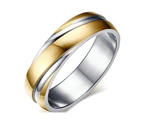 Jiedeng Schmuck Unisex Ringe aus Edelstahl Ring mit Einfacher Stil Partnerringe Verlobungsringe Ehering Trauringe für Damen-Ring, Herren-Ring Gold Silber - mit Geschenk Tüte Größe 62 (19.7)