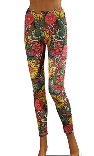 Damen Frauen Lang Flower Print - Blumen Muster - Leggings - Leggins - Flo1