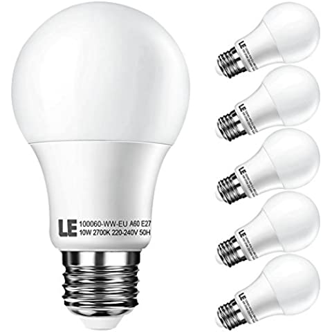 LE Bombillas LED 10W = 60W Incandescente Blanco cálido 2700K, E27 A60, Pack de 5