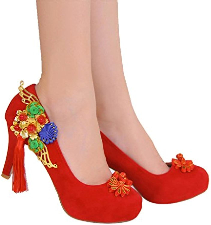 Scarpe da Donna Cinese Retro Round Head Alta con Una Singola Scarpa Scarpe da Sposa Scarpe da Sposa (con Altezza... | Bel Colore  | Gentiluomo/Signora Scarpa