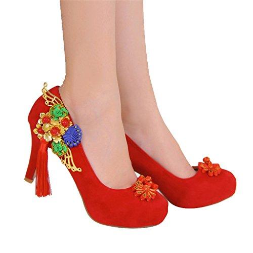 Damenschuhe Chinese Retro Round Kopf High mit einem einzigen Schuh Brautschuhe Hochzeitsschuhe (mit hohem: 5cm) (Farbe : Red, größe : 34-Shoes long220mm)