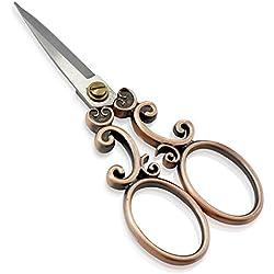 PsmGoods® Vintage antike Edelstahl-Kreuz-Stich Antike Nähschere Schere Old Style Blick Bronze DIY (Scissor 2R)