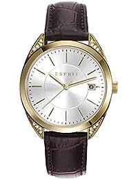 Esprit Damen-Armbanduhr brown Analog Quarz Leder ES108972003