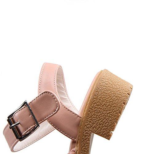 VogueZone009 Femme Boucle Ouverture D'Orteil à Talon Bas Pu Cuir Tricotage Sandales Rose