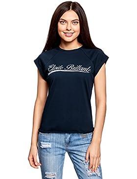 oodji Ultra Mujer Camiseta de Algodón sin Etiqueta con Inscripción y Borde Inferior No Elaborado