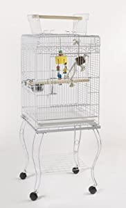 Bird Cage All White Cockatiel Cage With Stand Zarzis by POSH PETS