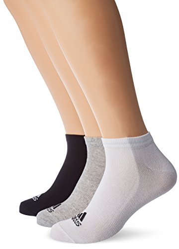 adidas Unisex Trainingssocken Performance extrakurze dünne 3 Paar, mehrfarbig (Black/Medium Grey Heather/White), 35-38