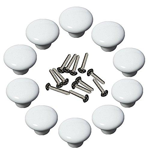 Yahead 10 Stück Keramik Türknopf Runden Türgriffe Knöpfe Schubladen Türschrank Schrank Pulls Knöpfe Moebelknoepfe Moebelgriff Schrankgriffe Knopf -