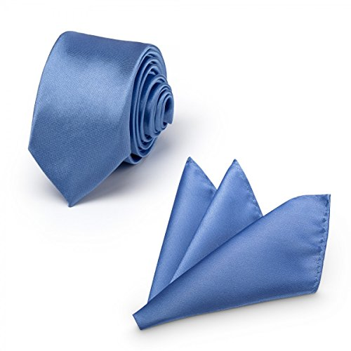 Rusty Bob - Krawatte mit Einstecktuch (in vielen Farben) - für die Verlobung, die Hochzeit - Schlips mit Taschentuch für das Sakko - 2er-Set - Königsblau (Anzug Krawatte Navy)
