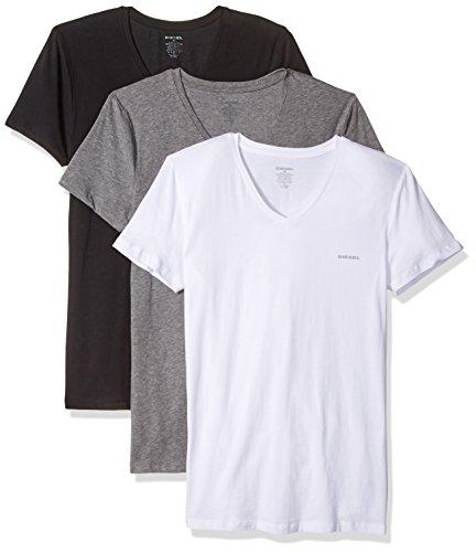 Diesel Herren UMTEE-MICHAEL3PACK V-Neck T-Shirt Unterhemd, schwarz/weiß/grau, Large -