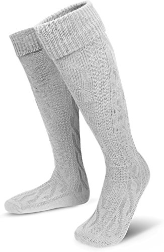 Klassische Trachtensocken Strümpfe - Lange Kniestrümpfe mit Zopfmuster - Overknee Überknie [Gr. 35-50] Farbe Weiß Größe 39-42