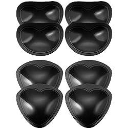 4 Pares de Almohadillas de Sujetador Autoadhesivas Insertos Desmontable Push Up Rellenos de Pecho para Bikini, 2 Formas (Negro)